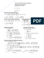 Partial Differential Equation Formula Sheet
