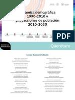 Dinámica demográfica 1990-2010 y proyecciones de población 2010-2030 del estado de Querétaro.