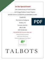 ASNC Talbots Fundraiser