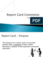 report card comments - deecd - november 2014