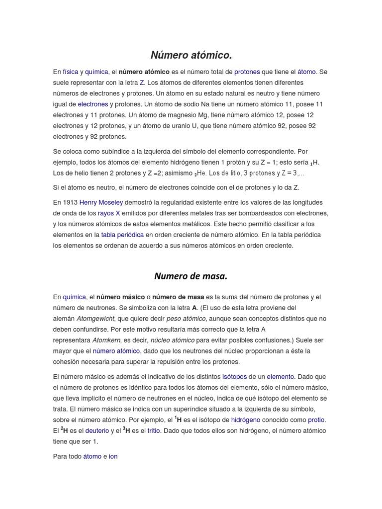nmero atmico - Tabla Periodica De Los Elementos Numero Masico