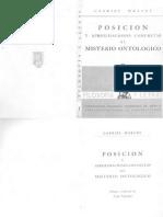 Marcel, Gabriel - Posicion y Aproximaciones Concretas Al Misterio Ontológico