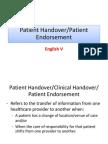 Patient Handover,Patient Endorsement