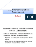 Patient Handover,Patient Endorsement