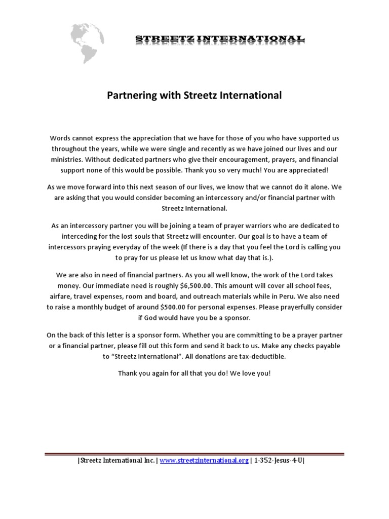 Partner Letter and Form | Intercession | Financial Technology