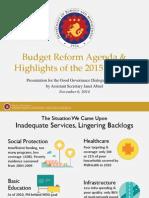 Budget Reform Agenda & Highlights of the 2015 Budget