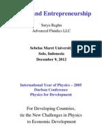 Physics and Entrepreneurship