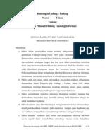 RUU Tindak Pidana Di Bidang Teknologi Informasi (TIPITI)