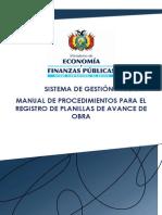 11 Manual Procedimiento de Planilla de Avance de Obras