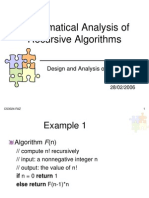 Mathematical Analysis of Recursive Algorithms