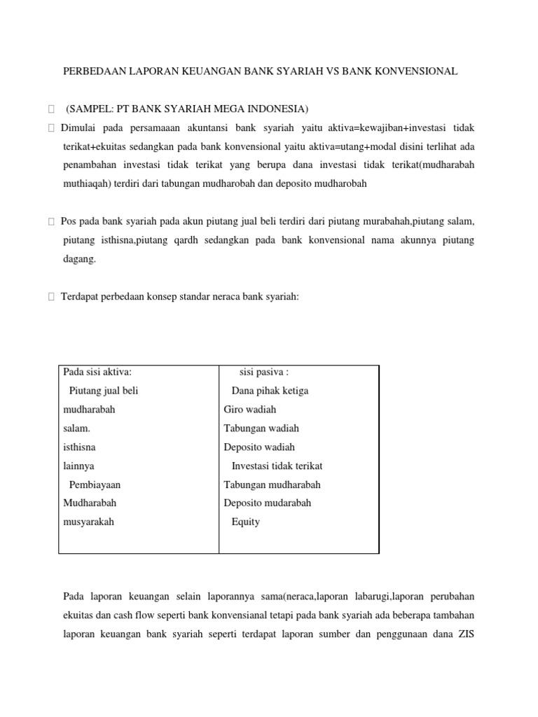 Perbedaan Laporan Keuangan Bank Syariah Vs Bank Konvensional Docx
