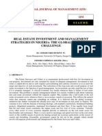 Real Estate Investment and Management Strategies in Nigeria the Global Meltdown Challenge