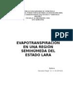 Evapotranspiración en Una Región Semihúmeda Del Estado Lara