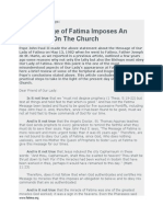 The Message of Fatima Imposes an Obligation on the Church
