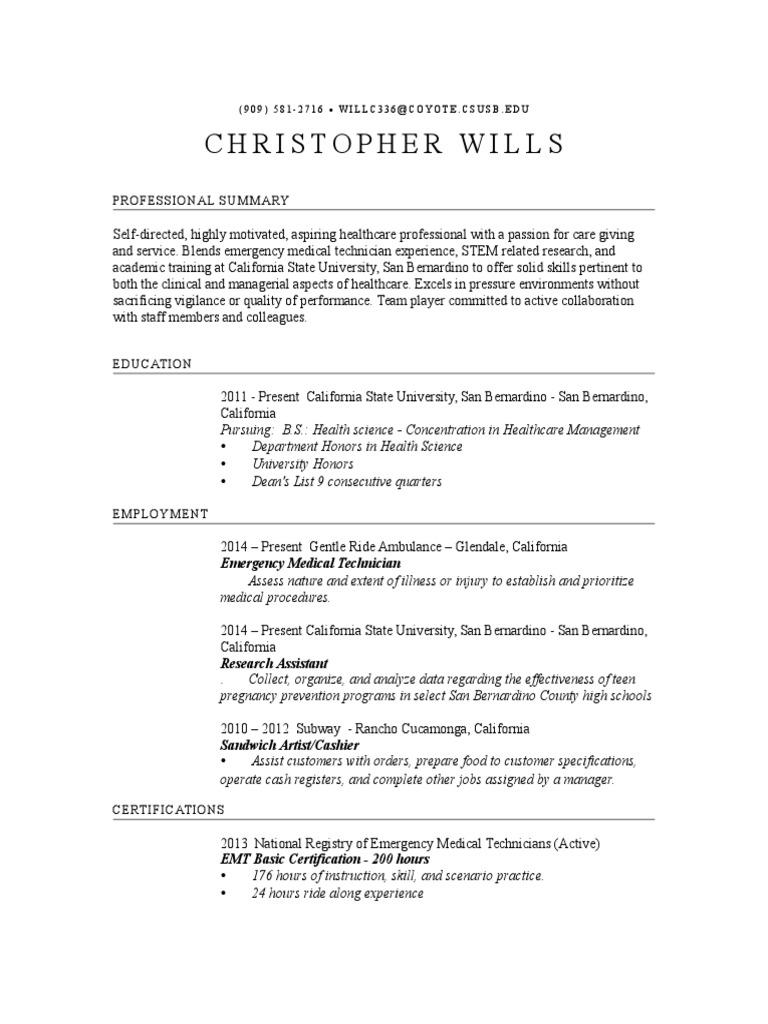 Resume Christopher Wills Emergency Medical Technician Medicine