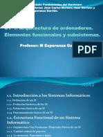 1 Arquitectura de Ordenadores. Elementos Funcionales y Subsistemas