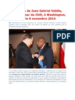 Discours de Juan Gabriel Valdès, Ambassadeur du Chili, à Washington, DC, le 6 novembre 2014