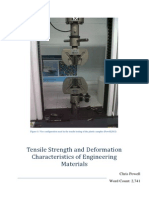 Tensile Strength and Deformation Characteristics of Engineering Materials
