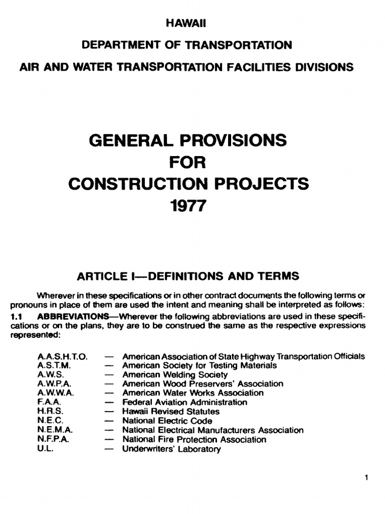 SDOTA General Provisions for Construction Projects 1977 | Surety ...