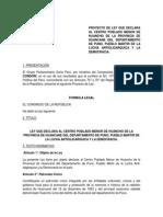 Proyecto de Ley Que Declara Al Centro Poblado Menor de Huancho de La Provincia de Huancane Del Departamento de Puno
