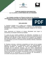 Declaracion San Sebastian convivencia ciudades