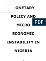 Monetray Policy and Micro Economic Instability in Nigeria