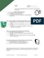 speaking behaviors checklist