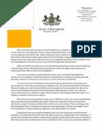 Sen. Smucker's letter to Senate of PA