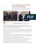 Kerry pushes for Mideast peace, donors pledge $5 billion for Palestinians