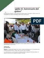 """Encabeza Egidio 41 Aniversario del ejido """"Periquitos"""""""