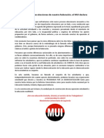 Declaración MUI Frente a Las Actuales Elecciones de Nuestra Federación
