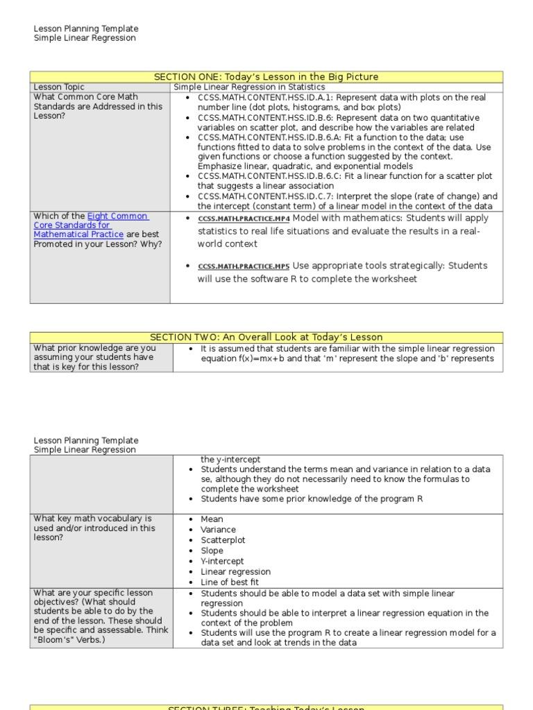 Technology Mini Lesson Plan Linear Regression Lesson Plan