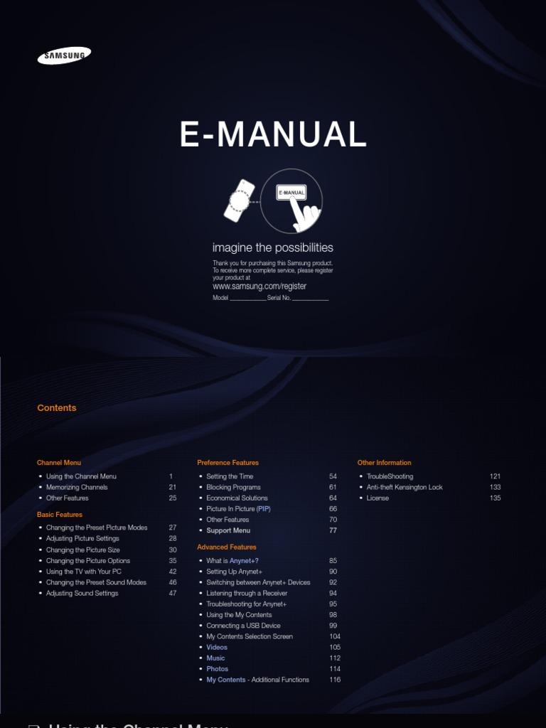 Manual TV Samsung T24A550 eng pdf | Hdmi | Rgb Color Model