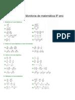 Atividade de fração algébrica 8 Ano 9