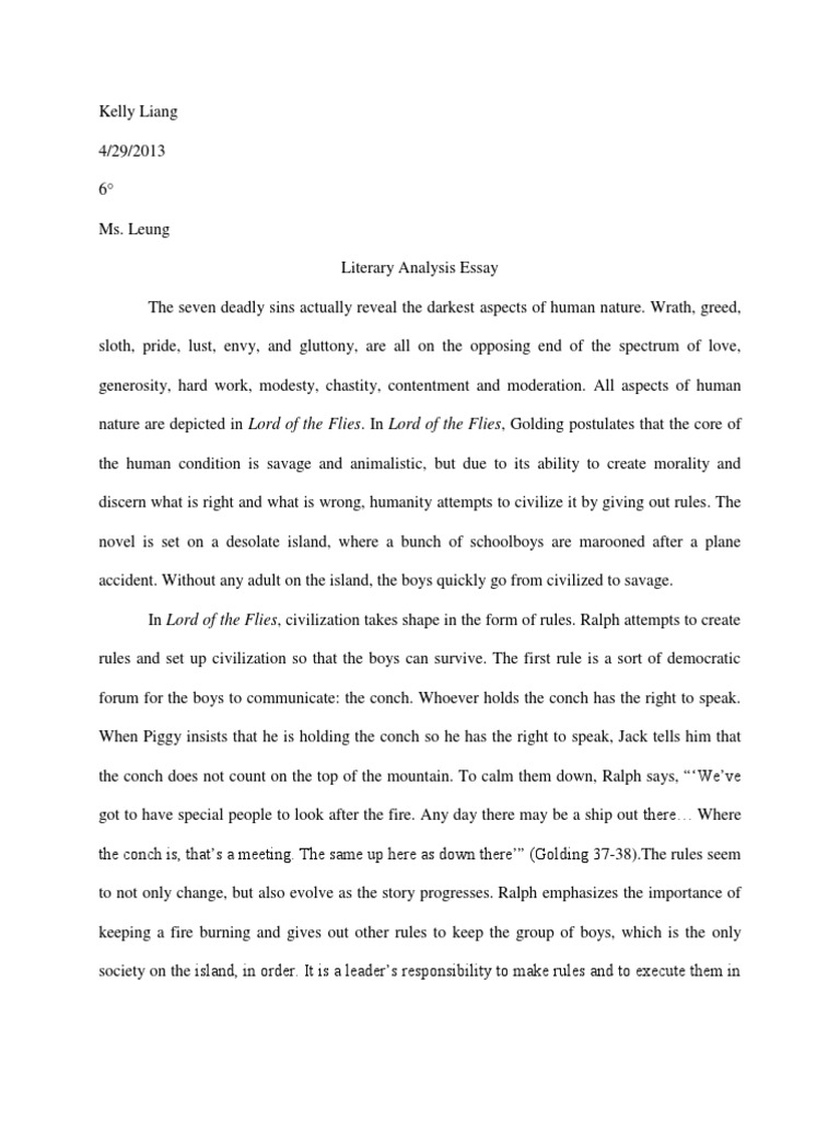 lord of the flies literary essay Dissertation geographie sur l eau literary analysis essay lord of the flies pay to have a research paper write a 5 paragraph essay.