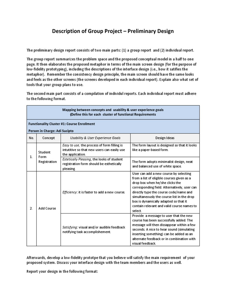 Group Assignment - Preliminary Design | Usability