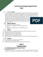 Makalah Microsoft Excel Sebagai Pengolah Data Tabel