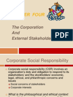 the corporation and external stakeholders
