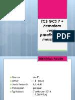 TCB GCS 3 + mv ekskoriatum