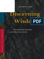 Discerning Wisdom the Sapiential Literature of the Dead Sea Scrolls Supplements to Vetus Testamentum