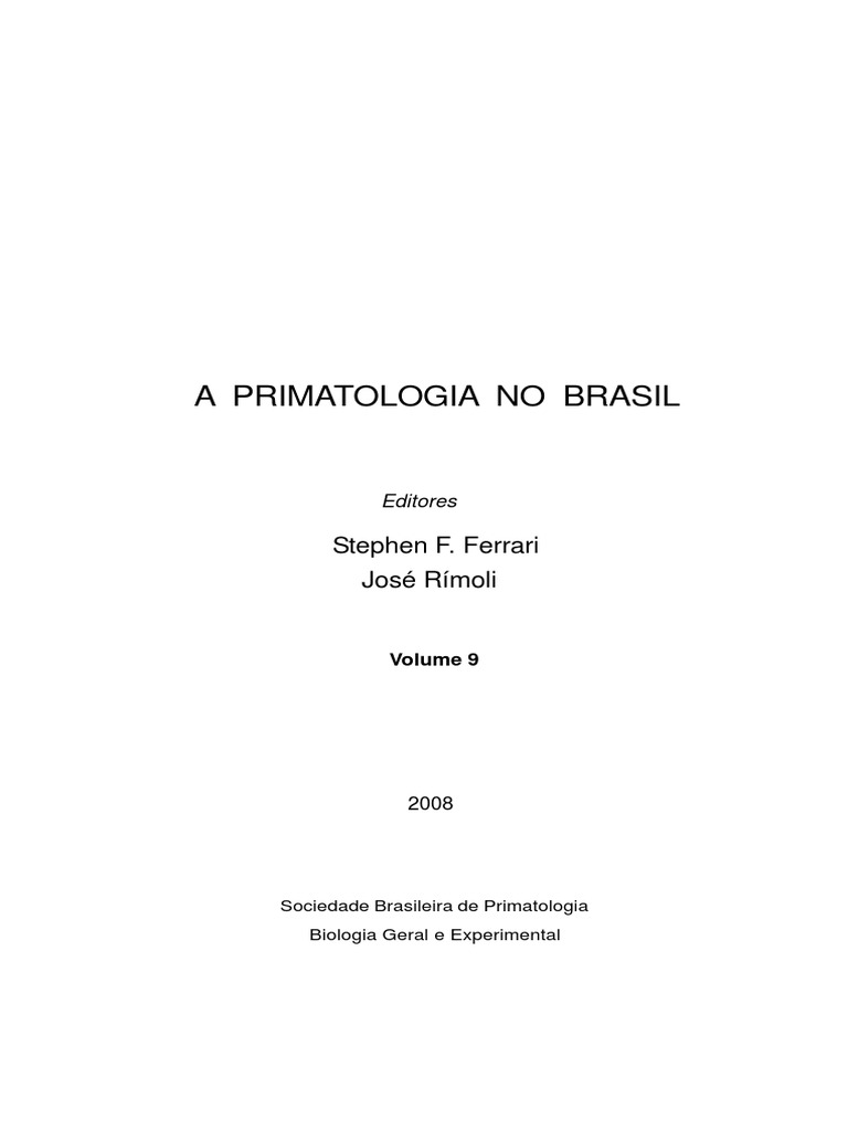 A primatologia no brasil volume 9 fandeluxe Image collections