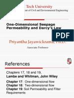 1 One Dimensional Seepage