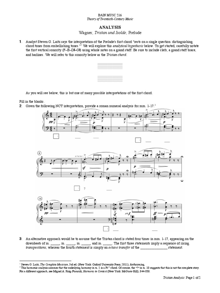 Wagner Tristan   Chord Music   Harmony