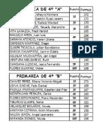 CUADRO DE MERITO DE LOS 10 PRIMEROS PUESTOS PRIMARIA 4ºA y 4ºB