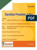 Sharekhan Pre Market Action 11th Sep 2014