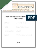 Trabajo de Imputación Objetiva. Cae Iustitia. Diplomado de Derecho Penal Parte General