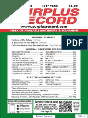 DECEMBER 2014 Surplus Record Machinery & Equipment Directory