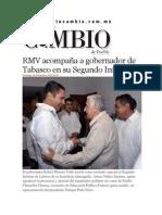 09-11-2014 Diario Matutino Cambio de Puebla - RMV Acompaña a Gobernador de Tabasco en Su Segundo Informe