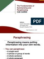 Fund of Paraphrasing Cue Cards