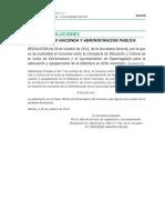 RESOLUCION de 28 de Octubre de 2014  de la Secretaría General, por la que se da publicidad al Convenio entre la Consejería de Educación y Cultura